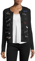 Alice + Olivia Ruthy Feminist Phrases Button-Front Cardigan