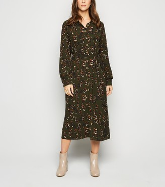 New Look Camo Print Midi Shirt Dress