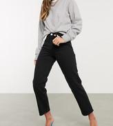 Asos Design DESIGN High rise stretch 'slim' straight leg jeans in black