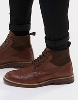 Asos Boots In Tan Leather And Suede Mix