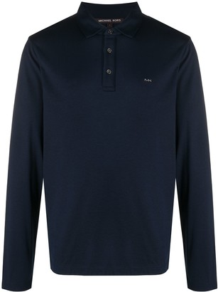 Michael Kors Logo Print Long-Sleeved Polo Shirt
