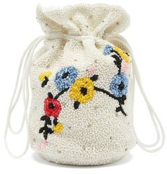 Ganni Hand-beaded Floral Drawstring Pouch - White Multi