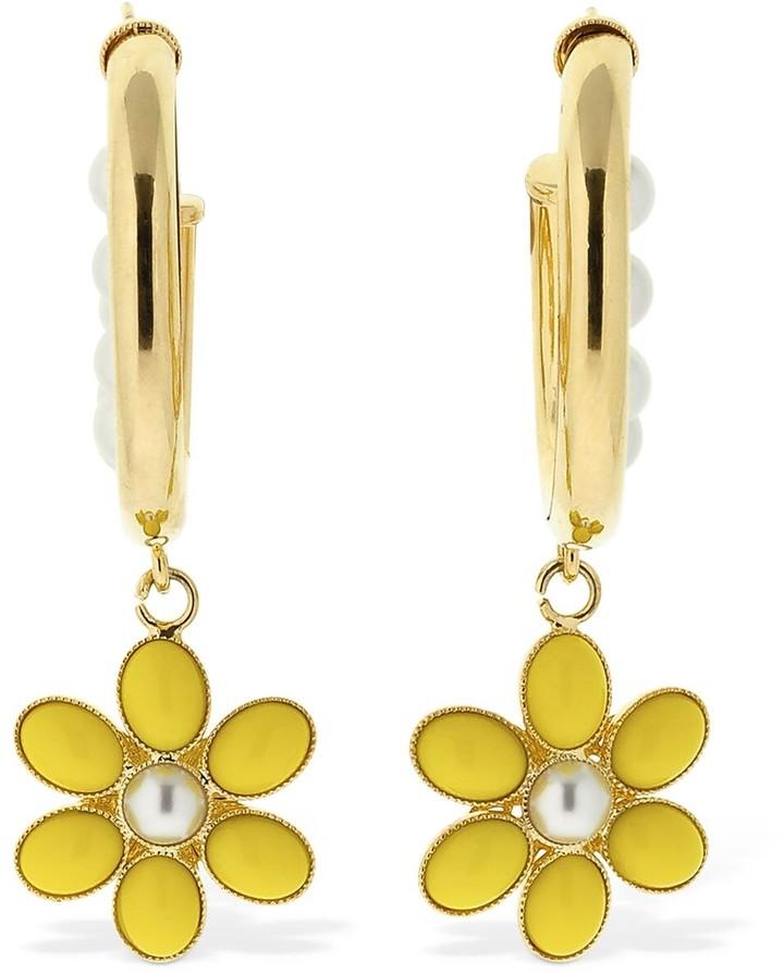 ROWEN ROSE Flower Hoop Earrings W/ Imitation Pearls