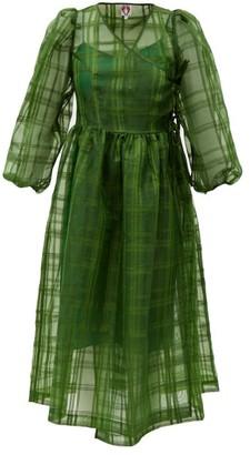 Shrimps Titania Puff-sleeve Organza Midi Dress - Dark Green