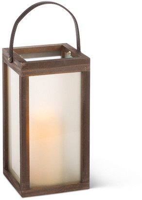 Everlasting Glow 12In Rustic Wood Lantern
