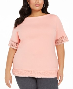 Karen Scott Plus Size Crochet-Trim Cotton Top, Created for Macy's