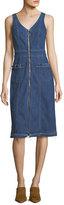 7 For All Mankind V-Neck Zip-Front Sleeveless Denim Dress