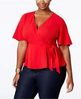 Monteau Trendy Plus Size Faux-Wrap Blouse