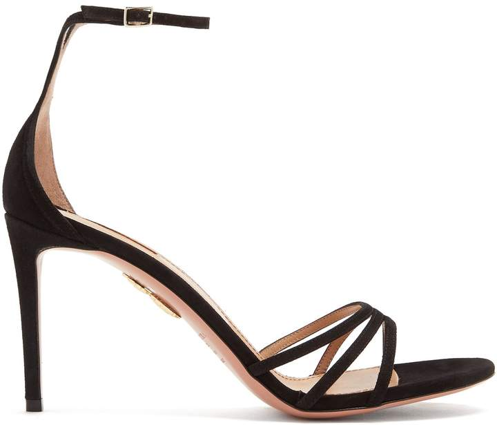Aquazzura Very Purist ankle-tie 85mm suede sandals