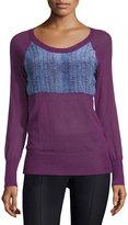 See by Chloe Lizard-Print Long-Sleeve Sweater, Purple/Blue