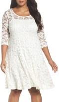Chetta B Plus Size Women's 'Magic' Lace Fit & Flare Dress