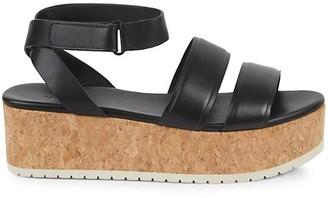 Vince Jet Cork Leather Flatform Sandals