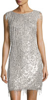 Aidan Mattox Bateau-Neckline Beaded Cocktail Dress, Silver