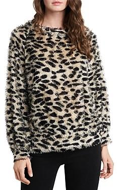 1 STATE Leopard Print Eyelash Sweater
