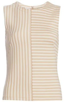 Akris Punto Patchwork Stripe Sleeveless Top