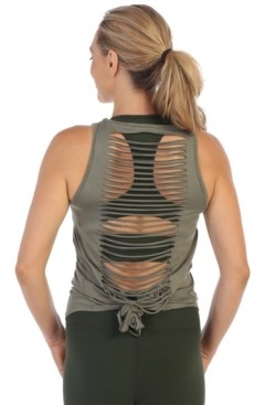 American Fitness Couture Get Shredded Laser Cut Open Back Tank