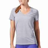 Reebok Short Sleeve V Neck T-Shirt-Womens