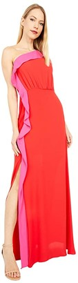 BCBGMAXAZRIA Color-Blocked Gown (Rosso Combo) Women's Dress