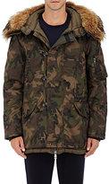 Moncler Men's Camouflage-Print Fur-Trimmed Parka-GREEN