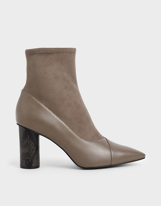 Charles & Keith Textured Cylindrical Heel Ankle Boots