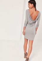 Missguided Cowl Back Bodycon Dress Grey