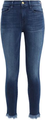 Frame Le Skinny De Jeanne Cropped Frayed Mid-rise Skinny Jeans