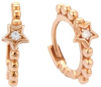 Kismet By Milka 14K Rose Gold Diamond Beaded Star Tiny Hoop Earrings