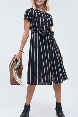 Blu Pepper Short Sleeve Stripe Waist Tie Dress