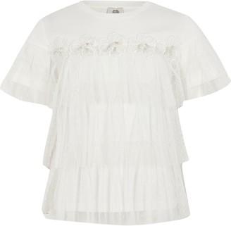 River Island Girls White flower mesh frill T-shirt