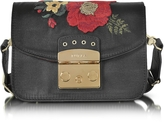 Furla Onyx Embroidered Satin Metropolis Floral Mini Crossbody Bag