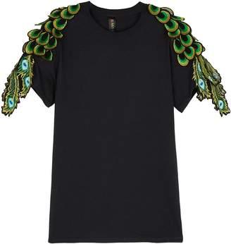 Ragyard RAGYARD Peacock Feather-appliqued Cotton T-shirt