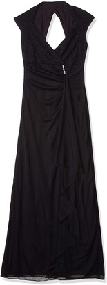 Onyx Nite Women's Long Sheer Jersey Gown with Side Cascade and Wavy Metallic Knit Top