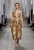 Milly Chevron Brocade Elisa Pleated Dress