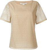 Diane von Furstenberg 'Brylee' overlay lace short sleeve top - women - Polyester/Spandex/Elastane/Metallized Polyester - M