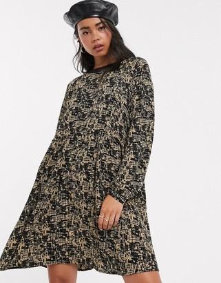 Noisy May graphic print oversized smock mini dress-Multi
