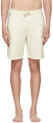 Off-White Solid and Striped Piped Board Shorts