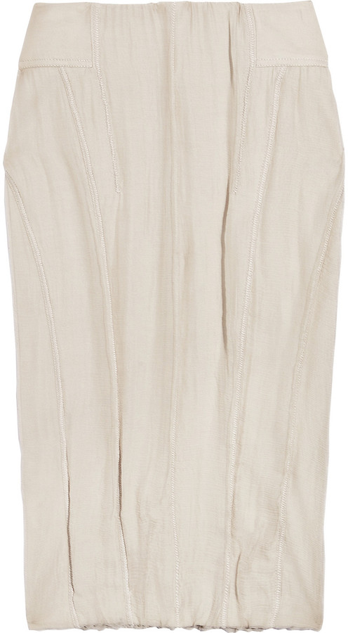 Donna Karan Silk chiffon-paneled stretch-jersey skirt