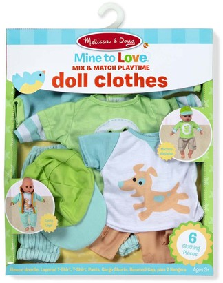"Melissa & Doug Mine to Love Mix & Match 6-Piece Playtime Doll Clothes for 12""-18"" Unisex Dolls"