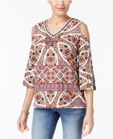 Style&Co. Style & Co Cold-Shoulder Embroidered-Trim Top, Only at Macy's