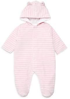 Kissy Kissy Baby Girl's Stripe Velour Hooded Footie