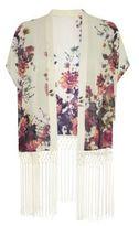 Parisian Cream Floral Print Tassel Hem Kimono