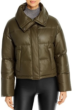 Yves Salomon Cropped Leather Puffer Down Coat