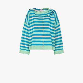 Charles Jeffrey Loverboy Blue Slash Striped Sweater