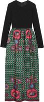 Anna Sui Printed jacquard and ribbed-knit maxi dress