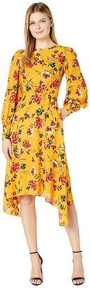 Donna Morgan Long Sleeve Georgette Fit-and-Flare with Asymmetrical Hem Dress (Marigold Multi) Women's Dress