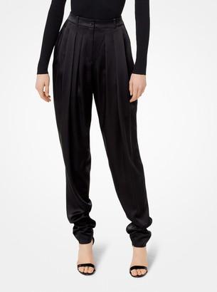 Michael Kors Pleated Satin-Charmeuse Trousers