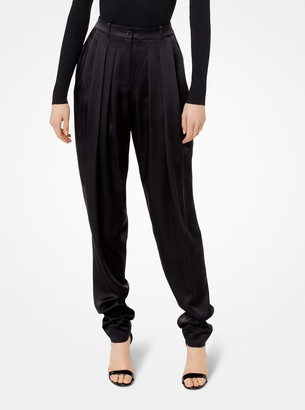 Michael Kors Collection Pleated Satin-Charmeuse Trousers
