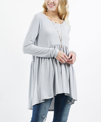 Lydiane Women's Tunics LT - Light Gray Long-Sleeve Peplum Tunic - Women & Plus