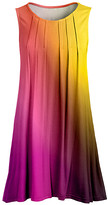 Lily Women's Tunics FUS - Fuchsia & Yellow Ombre Pleated Sleeveless Tunic - Women & Plus