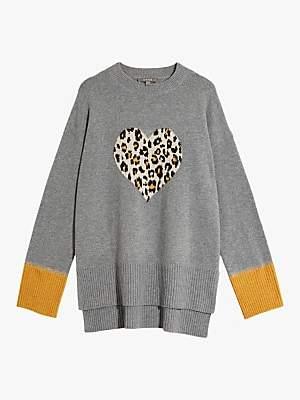 Oasis Halle Animal Print Heart Jumper